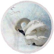 Trumpeter Textures #2 - Swan Preening Round Beach Towel
