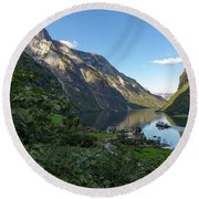 Round Beach Towel featuring the photograph Tufte, Naerofjord, Norway by Andreas Levi