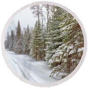 Round Beach Towel featuring the photograph Tug Hill Pines by Rod Best