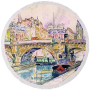 Tugboat At The Pont Neuf, Paris - Digital Remastered Edition Round Beach Towel