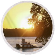 Tugboat On Mississippi River Round Beach Towel