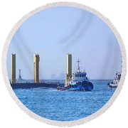 Tugboat Pulls Large Load Into Kaohsiung Port Round Beach Towel