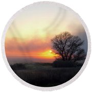 Tule Fog Sunrise  Round Beach Towel