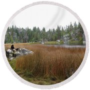 Tule Lake  Round Beach Towel