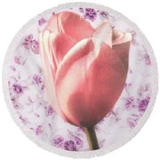Round Beach Towel featuring the photograph Tulip Contrasted by Michael Arend