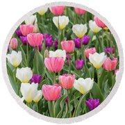 Tulip Field Round Beach Towel