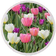 Round Beach Towel featuring the photograph Tulip Field by Emily Johnson