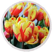 Tulips And Tiger Stripes Round Beach Towel
