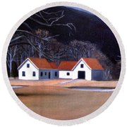 Tunnel Farmhouse At Rumney Depot New Hampshire Round Beach Towel