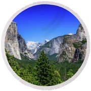 Round Beach Towel featuring the photograph Tunnel View Of Yosemite 2 by Dawn Richards