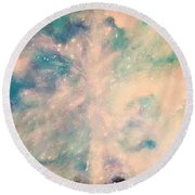 Turquoise Cosmic Cloud Round Beach Towel