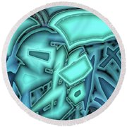 Turquoise On Blue Round Beach Towel