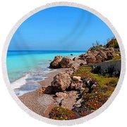 Turquoise Sea And Azure Sky Round Beach Towel