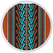 Turquoise Triangle Pattern Round Beach Towel