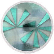 Turquoise Triangles On Blue Grey Backdrop Round Beach Towel