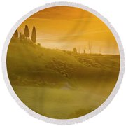 Tuscany In Gold Round Beach Towel