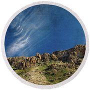 Tuscon Clouds Round Beach Towel