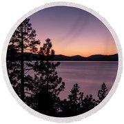 Twilight At Lake Tahoe Round Beach Towel