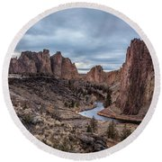 Twilight At Smith Rock State Park Round Beach Towel