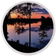 Twilight By The Lake Round Beach Towel