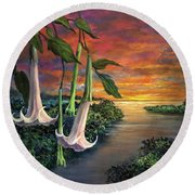 Twilight Trumpets Round Beach Towel