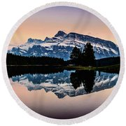 Twilight, Two Jack Lake Round Beach Towel