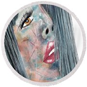 Twilight - Woman Abstract Art Round Beach Towel