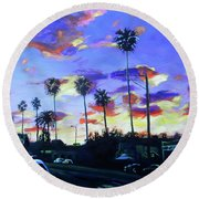 Twilight At Figueroa And 40th  Round Beach Towel