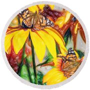 Twin Painted Lady Butterflies Pencil Round Beach Towel