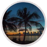 Round Beach Towel featuring the photograph Twin Palms Sunrise by Tom Claud