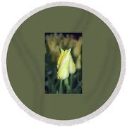 Twisted Yellow Tulip Round Beach Towel