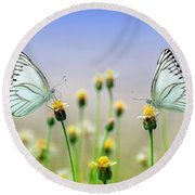 Two Butterflies Round Beach Towel