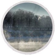 Two Cent Bridge At -5f Round Beach Towel