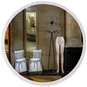 Round Beach Towel featuring the photograph Two Chairs, A Black Bird And Half A Nude by Craig J Satterlee