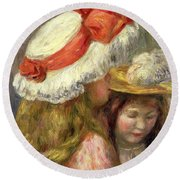 Two Girls With Hats, Circa 1890  Round Beach Towel