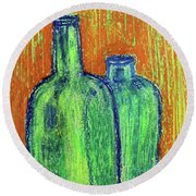 Two Green Bottles Round Beach Towel