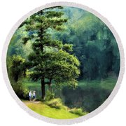 Two Guys And A Pond Round Beach Towel
