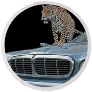 Two Jaguars 1 Round Beach Towel
