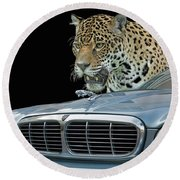 Two Jaguars 2 Round Beach Towel