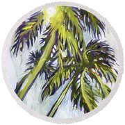 Two Palm Sketch Round Beach Towel