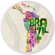 Typography Map Of Latin America, Mexico, Central And South America Round Beach Towel