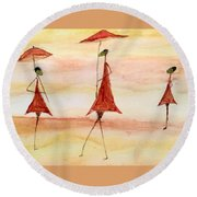 Umbrellas Round Beach Towel