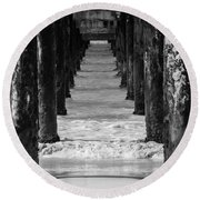 Round Beach Towel featuring the photograph Under The Pier #2 Bw by Stuart Manning