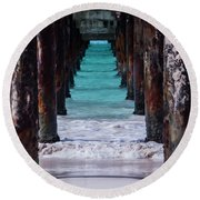 Round Beach Towel featuring the photograph Under The Pier #3 Opf by Stuart Manning