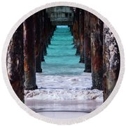 Round Beach Towel featuring the photograph Under The Pier by Stuart Manning