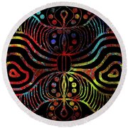 Under The Sea Digital Patterns Of Life Round Beach Towel