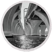 Under The Woodrow Wilson Bridge Round Beach Towel