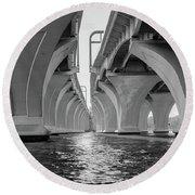 Under The Woodrow Wilson Bridge Round Beach Towel
