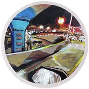 Round Beach Towel featuring the painting Underpass At Nighht by Tilly Strauss