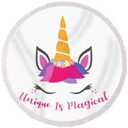 Unique Is Magical - Baby Room Nursery Art Poster Print Round Beach Towel